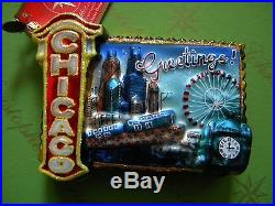 Christopher Radko Greetings From Chicago Glass Ornament