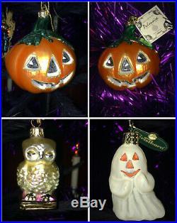 Christopher Radko Halloween Feather Tree & 13 Halloween Ornaments