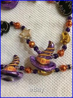 Christopher Radko Halloween Glass Ornament Garland Pumpkin Patch 3 Feet Long