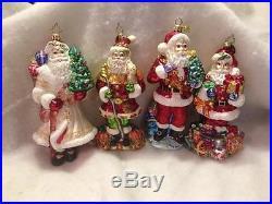 Christopher Radko Hand Painted Glass Santa Ornament Lot of 4 Retired