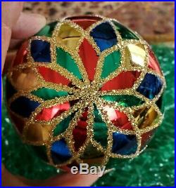Christopher Radko Harlequin 4 Christmas Ball Ornament #2 Gold Glitter Stencil