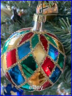Christopher Radko Harlequin Glass Ball Christmas Ornament
