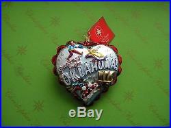Christopher Radko Heart Of Oklahoma Glass Ornament