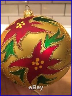 Christopher Radko Holiday Sparkle 1993 Ornament 93-144-0 Poinsettia on Gold Ball