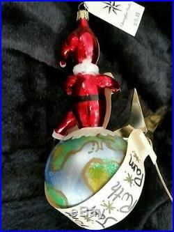 Christopher Radko Italian Blown Glass Ornament CHECKING HIS LIST 1999