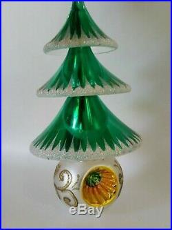 Christopher Radko Italian Blown Glass Ornament ELEGANT EVERGREENS 1999 Green