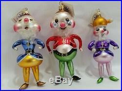 Christopher Radko Italian Blown Glass Ornament HI HO TRIO 1996 3 assorted
