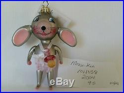 Christopher Radko Italian Blown Glass Ornament MOUSE KIN 2004 Rare