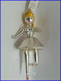 Christopher Radko Italian Blown Glass Ornament TWINKLE TOES 1993 pink dress