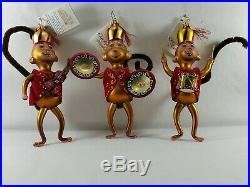 Christopher Radko Italian Glass Ornament BING BANG BONG 2003 set of monkeys