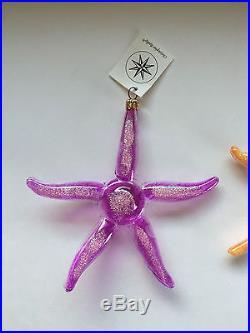 Christopher Radko Italy Starfish Lot Hand Made Glass Christmas Tree Ornaments