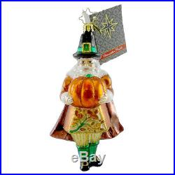 Christopher Radko MR PILGRIM Blown Glass Ornament Thanksgiving Harvest