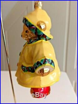 Christopher Radko MUFFY RAINY DAY Ornament Yellow Slicker 1014256 5.5'' tall