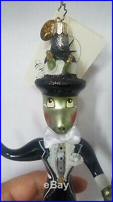 Christopher Radko Made in Italy Hopper Dashery Dapper Grasshopper Ornament