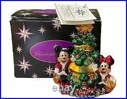 Christopher Radko Mickey & Minnie's Christmas 2002 Glass Ornament Orig Box withTag
