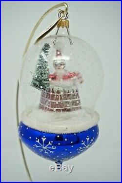 Christopher Radko Midnight Visit Santa Snowglobe Italian Glass Ornament 96-023-0