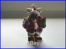 Christopher Radko Moose Santa & presents Hand Made Glass Christmas Tree Ornament