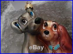 Christopher Radko Ornament Lady and The Tramp Glass Christmas Limited to 3500