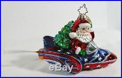 Christopher Radko Ornament with Box SANTA ROCKETEER Rare Santa on Rocket