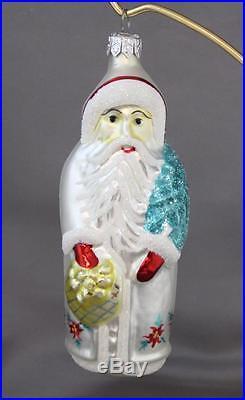 Christopher Radko Poinsettia Santa Ornament White 1991 St. Nick 91-038-1 Tree