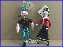 Christopher Radko Popeye & Olive Oyl Christmas Ornaments Set Vintage Rare