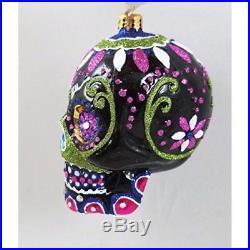 Christopher Radko Radko Black Jeweled Elegant Skull Glass Ornament Halloween