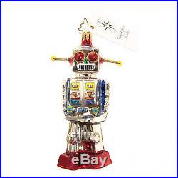 Christopher Radko Rare Hand Painted Glass Christmas Figurine Ornament Robot