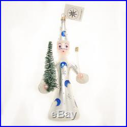 Christopher Radko Rare Painted Glass Christmas Ornament Wizard withTree & Wand