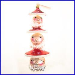 Christopher Radko Rare Tall Hand Painted Christmas Ornament 3-Headed Santa Claus