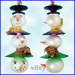 Christopher Radko Rare Triple scoop snowmen ornament retired 2001