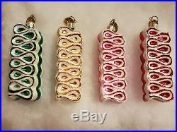 Christopher Radko Ribbon Candy Delight Set Of 4 Glass Christmas Ornaments