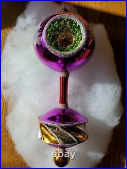 Christopher Radko Royal Diadem Triple Reflector Purple Glass Christmas Ornament