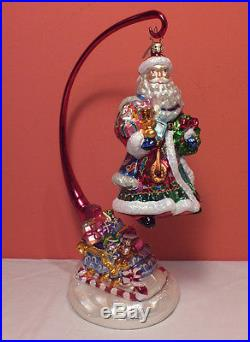 Christopher Radko SANTA SLEIGH Ornament & Stand Holly Wreath Cape Robe PERFCT 04