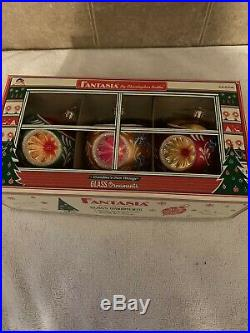 Christopher Radko Set of 3 Fantasia Blown Glass Ornaments Coventry Christmas