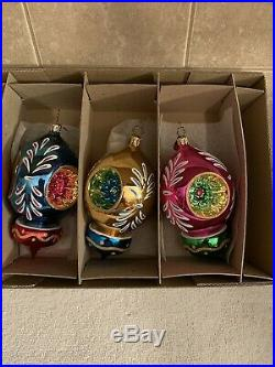 Christopher Radko Set of 3 Fantasia Blown Glass Ornaments Devonshire Dazzle