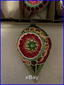 Christopher Radko Set of 3 Fantasia Blown Glass Ornaments Flora Flare