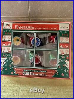 Christopher Radko Set of 6 Fantasia Blown Glass Ornaments Small Reflectors