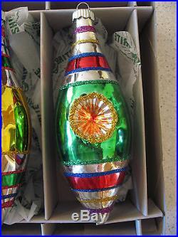 Christopher Radko Shiny Brite 4 Glass Christmas Tree Tulip Ornaments 5.5T x 2W