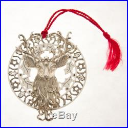 Christopher Radko Sterling Silver Christmas Tree Ornaments Rare Reindeer withHolly