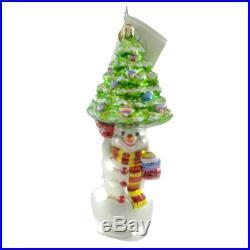 Christopher Radko TREE TOPPER Blown Glass Ornament Snowman Christmas