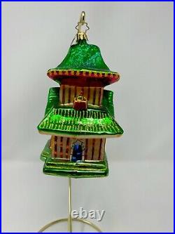 Christopher Radko Tea House Temple Pagoda Glass Ornament 1011580
