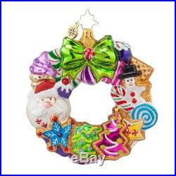 Christopher Radko Treats Wreath Gingerbread Glass Christmas Ornament