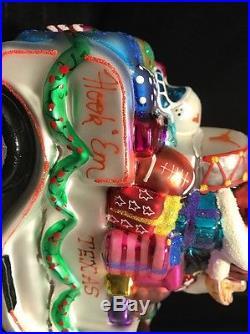 Christopher Radko University Of Texas Santa Christmas Ornament UT Longhorns TS