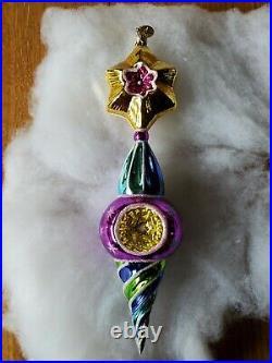 Christopher Radko Vintage Reflectors Indent Drop Star Glass Christmas Ornament