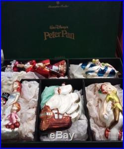 Christopher Radko Walt Disney 1998 Peter Pan Mouth-Blown Glass Ornament Set of 5