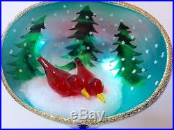 Christopher Radko Winter Nest Rare 1995 Ornament Red Bird Diorama Snowy Trees