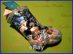 Christopher Radko Winterwood Wings Stocking 1013566 Glass Ornament
