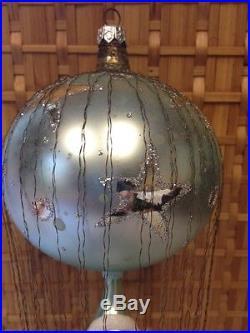Christopher Radko Wire Wrapped 3 Tier Santa & Balloon Blown Glass Ornament