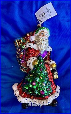 Christopher Radko Wonderful Wanderer Vintage Santa Ornament Beautiful and Big