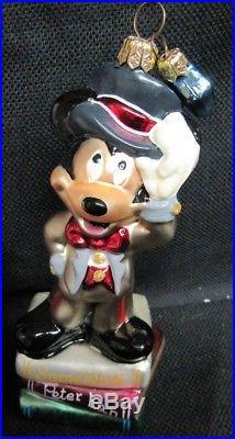 Disney Christopher Radko 75 Years Tuxedo Mickey Glass Ornament MIB Q627
